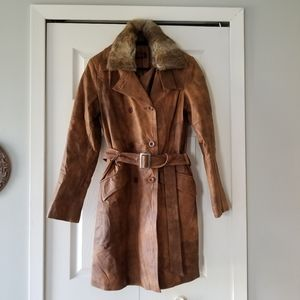 🧥DANIER LEATHER TRENCH COAT WITH FUR COLLAR